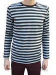 Mens Longsleeved Striped Tee Shirt Top - Grey & Black Stripes